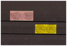 Papal States, 1867 - 80 cents, lilac-pink - Pair on fragment, with group gap (Sassone n. 20) - Pair of 40 cents, yellow (Sassone n. 40).