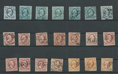 The Netherlands 1852 – King Willem III First emission – NVPH 1 (7x), 2 (11x), 3 (3x)