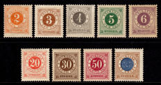 Sweden 1886/1891 - F40/49, Circle type PH, complete set