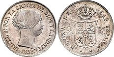 Spain 2 Reales 1852  -- Isabel II.