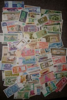 World - 178 different banknotes from all over the world including 28x Emergency Money