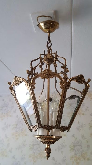 Beautiful and rare nice large antique (French?) hall lamp/hanging lamp of copper with four light points