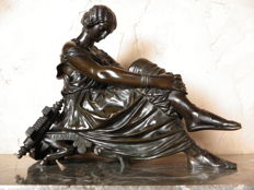 "Jean-Jacques said James Pradier (1790-1852) - ""Sapho assise"" - bronze - France - 19th century"