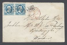 Netherlands 1852 - King William III 5c bright blue pair on letter to Woerden