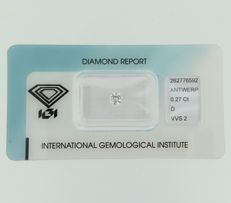 Brilliant cut diamond, 0.27 ct, D, VVS2