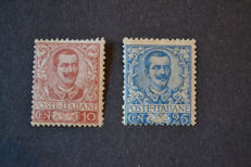 Kingdom of Italy - 1901 – 10 cents carmine and 25 cents blue. Sassone nos.: 71 and 73