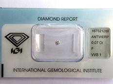 0.07 ct brilliant cut diamond, F VVS1
