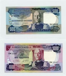 Angola - 20-50-100-500-1000 Escudos - issue 1972 - Pick 99, 100, 101, 102 and 103 - complete serie