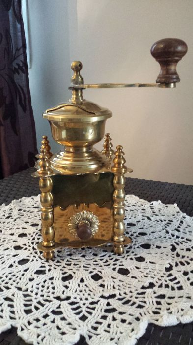 Beautiful coffee grinder, worked solid copper
