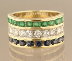 14 kt bi-colour gold ring set with brilliant cut sapphires, emeralds and diamonds, ring size 17 (53)