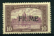 Fiume – 1918-19 – 10 Kr - lilac brown overprinted, 2nd type – Sassone catalogue no. 21/II
