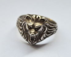 "Germany Old WWII 900 Silver Ring ""Lion"""