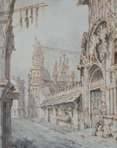 Attrib. William Henry Hunt  (1790 - 1864) - A view of Rouen