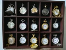 Collection of 15 pocket watches with luxury display