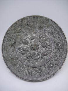 Chinese ancient mirror - D 11 cm x 1 cm