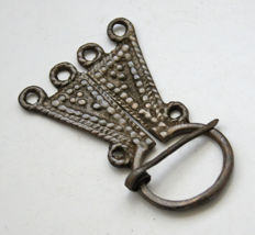 Early medieval silver-plated bronze Omega Viking fibula, - 58 x 39 mm