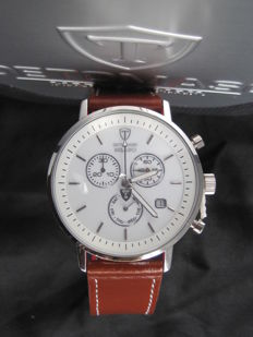 DETOMASO Milano Mens Watch Chronograph DT1052-G White Dial Brown Leather Strap New