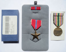 American bronze star + Southwest Asia service medals with batons - Complete sets!