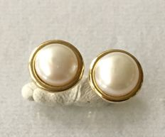 Pair of earring in gold 585  & pearls;No reserve price
