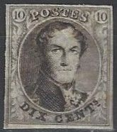 """OBP nr. 3 Leopold I Medallion 10c brown with watermark """"LL"""" in frame with certificate Soeteman position 74"""