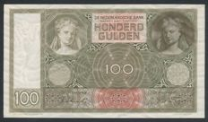 Netherlands - 100 Guilders 1930 - Woman's head / Woman playing the lute - mevius 117-5