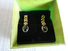 14k gold earrings with lapis lazuli - No reserve