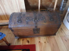Swedish oak cabin trunk with fine iron fittings and dating from 1809