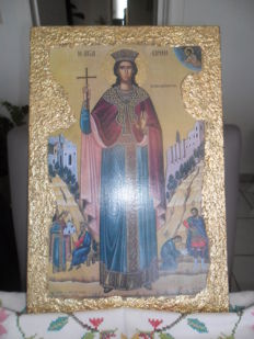 St. Irene the Great Martyr - handmade ikon on old ply wood -gold leaf - hagiography  - greece 20th century