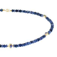 18k/750 yellow gold – Necklace consisting of kyanite and porcelain – Length: 54 cm.