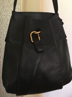 Delvaux - authentic black soft leather bag, large-size, very good condition