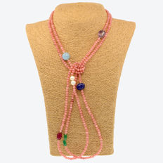 18 kt/750 yellow gold - Necklace with morganite and multiple gemstones - Length: 167 cm.