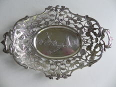 Silver open work dish, Netherlands, import in Sweden