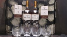 Macallan 12 Sherry New Year 2017 Limited Edition Gift Set x 2 with 4 glasses