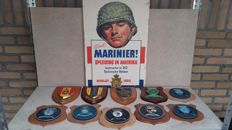 Collection of 10 marine related coats of arms and poster on hard board