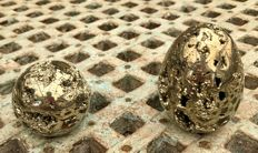 Peruvian Pyrite - sphere and egg - 4.9 and 7cm - 620gm
