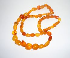 Antique Baltic Amber Egg yolk, caramel colour, necklace 48 gr,