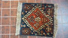 Antique, hand-knotted Persian carpet, Qashqai, size 40 x 39, from Iran