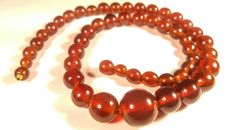 Vintage Baltic Amber round beads Necklace, 58 grams
