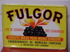Tin advertising sign Fugor Charbonages De Monceau - Fontaine-Sur-Sambre 1966