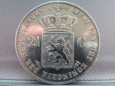 The Netherlands – 2½ Guilder Coin 1848, William II – Silver