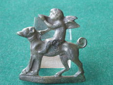 Copper profane insignia - Angel on dog - 49 mm
