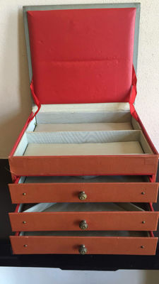 A vintage jewellery box with 3 drawers and compartment under flap, the Netherlands, approx. 1950s