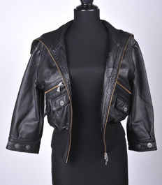 Versace - leather jacket with medusa buttons