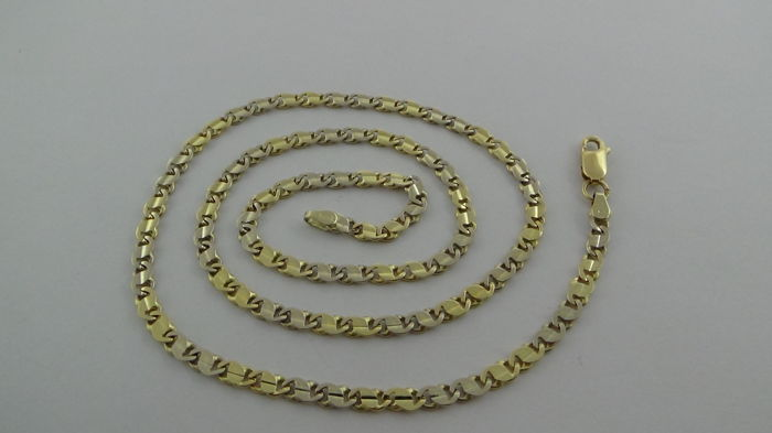 14 kt gold, bi-colour necklace – Length: 50 cm – 16.50 grams