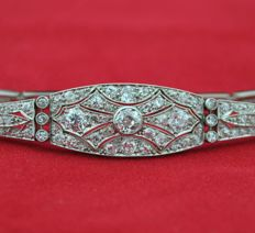 Antique Diamond (4.50ct) & 18k White Gold Art Deco Bracelet - Size diamond Face of bracelet :  12mm x 65mm - Length 20cm