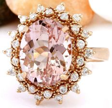 No Reserve-Axclusive 6.05carat Natural Morganite And Diamond Ring In 14K Rose Gold-No Reserve Ring Size: 54 : 17 1/2 : O : 7  !!! Free shipping !!!