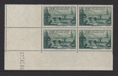 France, 1929, La Porte Rochelle, Yvert 261, in block of four, with coin date