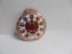 early  vintage AUSTRIAN  TIROL brass and enamel car badge with fixings  stunning condition un-used 1960s   original