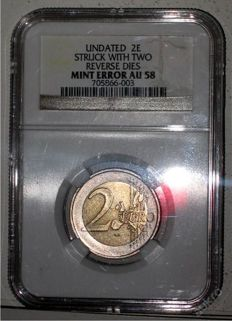 Europe - 2 Euro with mint error (two reverse dies) in NGC slab
