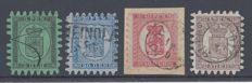 Finland  1866/70 - Serpentins - Unificato 6,8,9  & 11